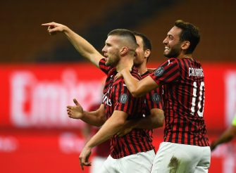 MILAN, ITALY - JULY 07:  Ante Rebic of AC Milan celebrates after scoring the fourth goal during the Serie A match between AC Milan and  Juventus at Stadio Giuseppe Meazza on July 7, 2020 in Milan, Italy.  (Photo by Claudio Villa./Getty Images)