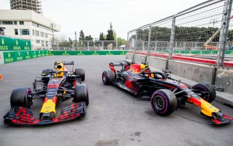 BAKU, AZERBAIJAN - APRIL 29:  Max Verstappen of Red Bull Racing and The Netherlands and Daniel Ricciardo of Australia and Red Bull Racing car's after their crash during the Azerbaijan Formula One Grand Prix at Baku City Circuit on April 29, 2018 in Baku, Azerbaijan.  (Photo by Peter J Fox/Getty Images)