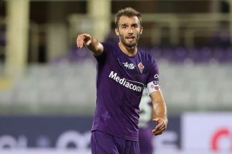 FLORENCE, ITALY - JULY 12: German Pezzella of ACF Fiorentina gestures during the Serie A match between ACF Fiorentina and  Hellas Verona at Stadio Artemio Franchi on July 12, 2020 in Florence, Italy.  (Photo by Gabriele Maltinti/Getty Images)