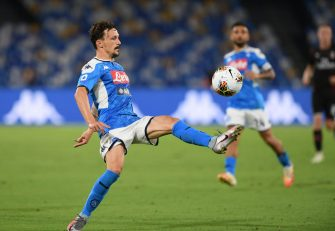 NAPLES, ITALY - JULY 12: Mario Rui of SSC Napoli during the Serie A match between SSC Napoli and  AC Milan at Stadio San Paolo on July 12, 2020 in Naples, Italy. (Photo by Francesco Pecoraro/Getty Images)