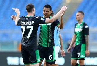 ROME, ITALY - JULY 11: (BILD ZEITUNG OUT) Manuel Locatelli of US Sassuolo and Rogerio of US Sassuolo celebrate after winning  the Serie A match between SS Lazio and US Sassuolo at Stadio Olimpico on July 11, 2020 in Rome, Italy. (Photo by Matteo Ciambelli/DeFodi Images via Getty Images)