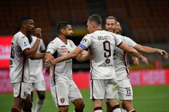 MILAN, ITALY - JULY 13:  Andrea Belotti of Torino FC celebrates a goal with his team  during the Serie A match between FC Internazionale and  Torino FC at Stadio Giuseppe Meazza on July 13, 2020 in Milan, Italy. (Photo by Stefano Guidi/Getty Images)