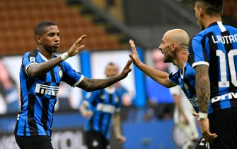 MILAN, ITALY - JULY 13:  Ashley Young of FC Internazionale celebrates a goal with his team during the Serie A match between FC Internazionale and Torino FC at Stadio Giuseppe Meazza on July 13, 2020 in Milan, Italy. (Photo by Stefano Guidi/Getty Images)