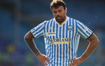 GENOA, ITALY - JULY 12: Italian striker Andrea Petagna of SPAL reacts during the Serie A match between Genoa CFC and  SPAL at Stadio Luigi Ferraris on July 12, 2020 in Genoa, Italy. (Photo by Jonathan Moscrop/Getty Images)