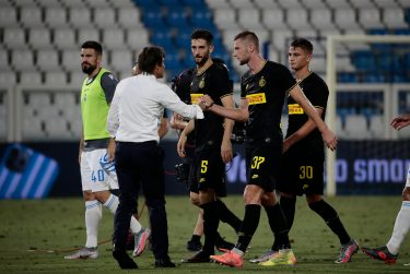 Inter's players at the end of the Italian Serie A soccer match S.P.A.L vs FC Inter at Paolo Mazza stadium in Ferrara, Italy, 16 July 2020. ANSA / ELISABETTA BARACCHI