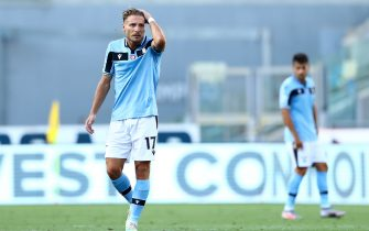 ROME, ITALY - JULY 11: (BILD ZEITUNG OUT) Ciro Immobile of SS Lazio looks dejected during the Serie A match between SS Lazio and US Sassuolo at Stadio Olimpico on July 11, 2020 in Rome, Italy. (Photo by Matteo Ciambelli/DeFodi Images via Getty Images)