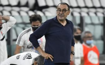 TURIN, ITALY - JULY 11:  Maurizio Sarri Coach of Juventus FC during the Serie A match between Juventus and  Atalanta BC at Allianz Stadium on July 11, 2020 in Turin, Italy. (Photo by Stefano Guidi/Getty Images)