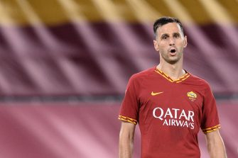 ROME, ITALY - JULY 02: Nikola Kalinic of AS Roma reacts during the Serie A match between AS Roma and  Udinese Calcio at Stadio Olimpico on July 02, 2020 in Rome, Italy. (Photo by Silvia Lore/Getty Images)