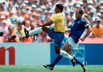 LOS ANGELES, USA - JULY 17: Romario of Brazil and Franco Baresi of Italy in action during the World Cup final match between Brazil and Italy on July 17, 1994 in Los Angeles, USA.  (Photo by Lutz Bongarts/Bongarts/Getty Images)