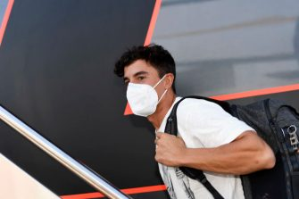 JEREZ DE LA FRONTERA, SPAIN - JULY 23: Marc Marquez of Spain and Repsol Honda Team  arrives in his motorhome in paddock  after surgery on Tuesday in Barcelona during the MotoGP of Andalucia - Previews at Circuito de Jerez on July 23, 2020 in Jerez de la Frontera, Spain. (Photo by Mirco Lazzari gp/Getty Images)