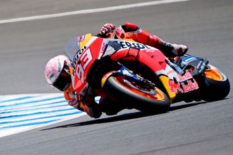 Repsol Honda Team's Spanish rider Marc Marquez competes during the MotoGP qualifying session of the Spanish Grand Prix at the Jerez racetrack in Jerez de la Frontera on July 18, 2020. (Photo by JAVIER SORIANO / AFP) (Photo by JAVIER SORIANO/AFP via Getty Images)