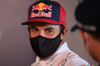JEREZ DE LA FRONTERA, SPAIN - JULY 16: Marc Marquez of Spain and Repsol Honda Team with the facial mask looks on during the MotoGP of Spain - Media Opportunity at Circuito de Jerez on July 16, 2020 in Jerez de la Frontera, Spain. (Photo by Mirco Lazzari/Getty Images)