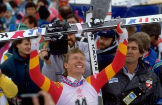 28 Feb 1988:  Pirmin Zurbriggen of Switzerland raises his skies aloft after the Mens Downhill event at the 1988 Winter Olympic Games in Calgary, Canada. Zurbriggen won the gold medal with a time of 1:59.63 minutes. \ Mandatory Credit: Allsport UK /Allsport