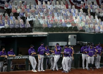 ARLINGTON, TEXAS - JULY 24:  on Opening Day at Globe Life Field on July 24, 2020 in Arlington, Texas.  The 2020 season had been postponed since March due to the COVID-19 pandemic.   (Photo by Ronald Martinez/Getty Images)