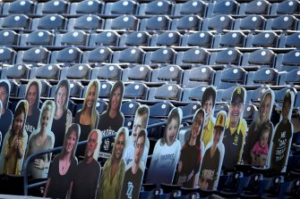 SAN DIEGO, CALIFORNIA - JULY 24:  Cutouts of fans line the seats behind homeplate prior to during the  Opening Day game between the San Diego Padres and the Arizona Diamondbacks at PETCO Park on July 24, 2020 in San Diego, California. (Photo by Sean M. Haffey/Getty Images)