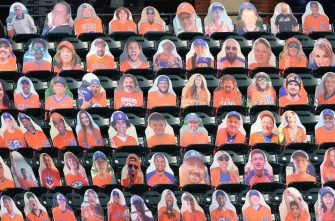 NEW YORK, NEW YORK - JULY 24:  Cardboard cutouts of fans are placed in the seats as no real fans are allowed at the games due to the COVID-19 pandemic during Opening Day between the New York Mets against the Atlanta Braves at Citi Field on July 24, 2020 in New York City.  The 2020 season had been postponed since March due to the COVID-19 pandemic. (Photo by Al Bello/Getty Images)