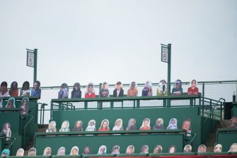 BOSTON, MA - JULY 24: Cardboard cut outs of fans sitting in the Green Monster on Opening Day at Fenway Park on July 24, 2020 in Boston, Massachusetts. The 2020 season had been postponed since March due to the COVID-19 pandemic. (Photo by Kathryn Riley/Getty Images)