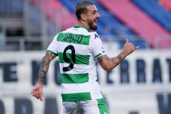 CAGLIARI, ITALY - JULY 18: Francesco Caputo of US Sassuolo Calcio celebrates after scoring the 0-1 goal during the Serie A match between Cagliari Calcio and  US Sassuolo at Sardegna Arena on July 18, 2020 in Cagliari, Italy. (Photo by Emanuele Perrone/Getty Images)