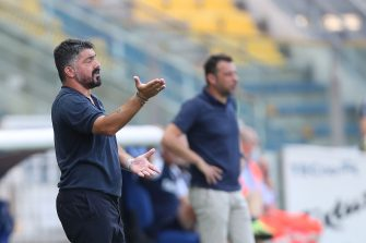PARMA, ITALY - JULY 22: Gennaro Gattuso, manager of SSC Napoli gestures during the Serie A match between Parma Calcio and  SSC Napoli at Stadio Ennio Tardini on July 22, 2020 in Parma, Italy.  (Photo by Gabriele Maltinti/Getty Images)