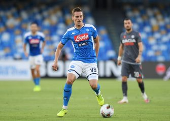 NAPLES, ITALY - JULY 19: Arkadiusz Milik of SSC Napoli during the Serie A match between SSC Napoli and  Udinese Calcio at Stadio San Paolo on July 19, 2020 in Naples, Italy. (Photo by Francesco Pecoraro/Getty Images)