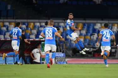 NAPLES, ITALY - JULY 25: Esleid Hysaj of SSC Napoli celebrates after scoring the 1-0 goal during the Serie A match between SSC Napoli and  US Sassuolo at Stadio San Paolo on July 25, 2020 in Naples, Italy. (Photo by Francesco Pecoraro/Getty Images)