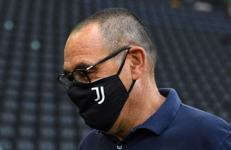 UDINE, ITALY - JULY 23: Maurizio Sarri head coach of Juventus looks on during the Serie A match between Udinese Calcio and Juventus at Stadio Friuli on July 23, 2020 in Udine, Italy. (Photo by Alessandro Sabattini/Getty Images)