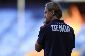 Italian Head coach Davide Nicola of Genoa CFC during the Serie A match at Luigi Ferraris, Genoa. Picture date: 25th July 2020. Picture credit should read: Jonathan Moscrop/Sportimage