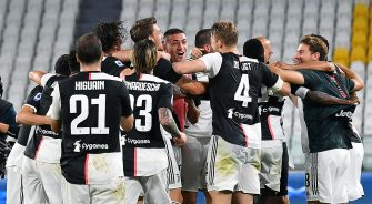"Players of Juventus FC celebrate after winning the Serie A title (""Scudetto"") for ninth consecutive season at the Allianz stadium in Turin, Italy, 26 July 2020 ANSA/ ALESSANDRO DI MARCO"