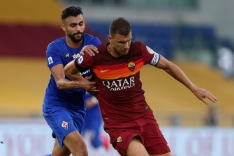 during the Serie A match between AS Roma and  ACF Fiorentina at Stadio Olimpico on July 26, 2020 in Rome, Italy.