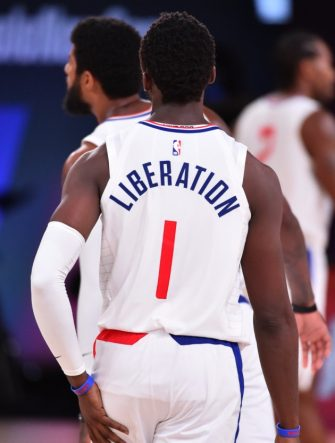Orlando, FL - JULY 30: A view of the jersey of Reggie Jackson #1 of the LA Clippers during a game against the Los Angeles Lakers on July 30, 2020 at The Arena at ESPN Wide World Of Sports Complex in Orlando, Florida. NOTE TO USER: User expressly acknowledges and agrees that, by downloading and/or using this Photograph, user is consenting to the terms and conditions of the Getty Images License Agreement. Mandatory Copyright Notice: Copyright 2020 NBAE (Photo by Jesse D. Garrabrant/NBAE via Getty Images)