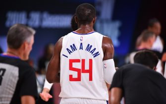 Orlando, FL - JULY 30: A view of the jersey of Patrick Patterson #54 of the LA Clippers during a game against the Los Angeles Lakers on July 30, 2020 at The Arena at ESPN Wide World Of Sports Complex in Orlando, Florida. NOTE TO USER: User expressly acknowledges and agrees that, by downloading and/or using this Photograph, user is consenting to the terms and conditions of the Getty Images License Agreement. Mandatory Copyright Notice: Copyright 2020 NBAE (Photo by Jesse D. Garrabrant/NBAE via Getty Images)