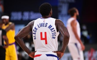 Orlando, FL - JULY 30: A view of the jersey of JaMychal Green #4 of the LA Clippers during a game against the Los Angeles Lakers on July 30, 2020 at The Arena at ESPN Wide World Of Sports Complex in Orlando, Florida. NOTE TO USER: User expressly acknowledges and agrees that, by downloading and/or using this Photograph, user is consenting to the terms and conditions of the Getty Images License Agreement. Mandatory Copyright Notice: Copyright 2020 NBAE (Photo by Jesse D. Garrabrant/NBAE via Getty Images)