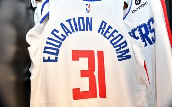 Orlando, FL - JULY 30: A view of the jersey of Marcus Morris Sr. #31 of the LA Clippers in the locker room prior to a game against the Los Angeles Lakers on July 30, 2020 at The Arena at ESPN Wide World Of Sports Complex in Orlando, Florida. NOTE TO USER: User expressly acknowledges and agrees that, by downloading and/or using this Photograph, user is consenting to the terms and conditions of the Getty Images License Agreement. Mandatory Copyright Notice: Copyright 2020 NBAE (Photo by Jesse D. Garrabrant/NBAE via Getty Images)