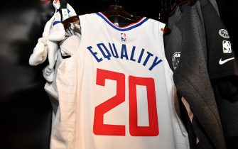 Orlando, FL - JULY 30: A view of the jersey of Landry Shamet #20 of the LA Clippers in the locker room prior to a game against the Los Angeles Lakers on July 30, 2020 at The Arena at ESPN Wide World Of Sports Complex in Orlando, Florida. NOTE TO USER: User expressly acknowledges and agrees that, by downloading and/or using this Photograph, user is consenting to the terms and conditions of the Getty Images License Agreement. Mandatory Copyright Notice: Copyright 2020 NBAE (Photo by Jesse D. Garrabrant/NBAE via Getty Images)
