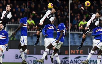 (COMBO) This combination of pictures created on December 19, 2019 shows (Chronologically From L) Juventus' Portuguese forward Cristiano Ronaldo (Top) jumping above Sampdoria's Italian defender Nicola Murru to score a header during the Italian Serie A football match Sampdoria vs Juventus on December 18, 2019 at the Luigi-Ferraris stadium in Genoa. (Photo by Marco BERTORELLO / AFP) (Photo by MARCO BERTORELLO/AFP via Getty Images)