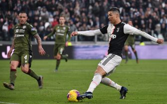 Juventus' Portuguese forward Cristiano Ronaldo prepares to score his third goal during the Italian Serie A football match Juventus vs Cagliari on January 6, 2020 at the Juventus Allianz stadium in Turin. (Photo by Marco Bertorello / AFP) (Photo by MARCO BERTORELLO/AFP via Getty Images)
