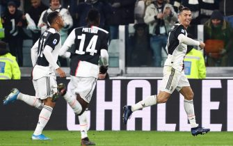 TURIN, ITALY - JANUARY 19:  Cristiano Ronaldo (R) of Juventus celebrates after scoring the opening goal during the Serie A match between Juventus and Parma Calcio at Allianz Stadium on January 19, 2020 in Turin, Italy.  (Photo by Marco Luzzani/Getty Images)