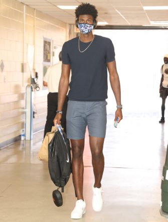 Orlando, FL - JULY 31:  Jonathan Isaac #1 of the Orlando Magic arrives before a scrimmage against the Brooklyn Nets on July 31, 2020 at HP Field House at ESPN Wide World of Sports in Orlando, Florida. NOTE TO USER: User expressly acknowledges and agrees that, by downloading and/or using this Photograph, user is consenting to the terms and conditions of the Getty Images License Agreement. Mandatory Copyright Notice: Copyright 2020 NBAE (Photo by David Sherman/NBAE via Getty Images)