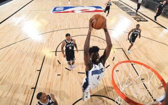 Orlando, FL - JULY 31: Jonathan Isaac #1 of the Orlando Magic drives to the basket during the game against the Brooklyn Nets on July 31, 2020 at The HP Field House at ESPN Wide World Of Sports Complex in Orlando, Florida. NOTE TO USER: User expressly acknowledges and agrees that, by downloading and/or using this Photograph, user is consenting to the terms and conditions of the Getty Images License Agreement. Mandatory Copyright Notice: Copyright 2020 NBAE (Photo by Garrett Ellwood/NBAE via Getty Images)