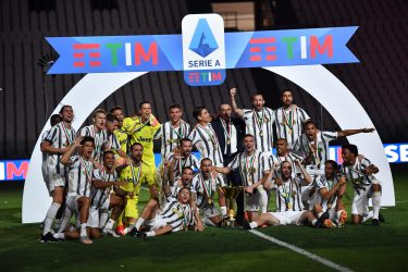 Juventus' team jubilate during the celebrations for the Juventus' victory of the 9th consecutive Italian championship (scudetto) at Allianz Stadium in Turin, Italy, 01 August 2020. ANSA/ALESSANDRO DI MARCO
