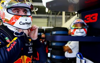NORTHAMPTON, ENGLAND - AUGUST 01: Max Verstappen of Netherlands and Red Bull Racing prepares to drive in the garage during qualifying for the F1 Grand Prix of Great Britain at Silverstone on August 01, 2020 in Northampton, England. (Photo by Mark Thompson/Getty Images)