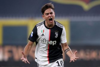GENOA, ITALY - JUNE 30: Juventus's Argentinian striker Paulo Dybala celebrates after scoring to give the side a 1-0 lead during the Serie A match between Genoa CFC and  Juventus at Stadio Luigi Ferraris on June 30, 2020 in Genoa, Italy. (Photo by Jonathan Moscrop/Getty Images)