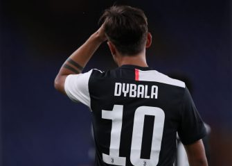 GENOA, ITALY - JUNE 30: Juventus's Argentinian striker Paulo Dybala adjusts his hair during the Serie A match between Genoa CFC and  Juventus at Stadio Luigi Ferraris on June 30, 2020 in Genoa, Italy. (Photo by Jonathan Moscrop/Getty Images)
