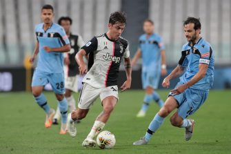 TURIN, ITALY - JULY 20:  Paulo Dybala of Juventus is challenged by Marco Parolo (R) of SS Lazio during the Serie A match between Juventus and SS Lazio at Allianz Stadium on July 20, 2020 in Turin, Italy.  (Photo by Emilio Andreoli/Getty Images)