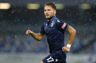 NAPLES, ITALY - AUGUST 01: (BILD ZEITUNG OUT) Ciro Immobile of SS Lazio looks on during the Serie A match between SSC Napoli and SS Lazio at Stadio San Paolo on August 1, 2020 in Naples, Italy. (Photo by Matteo Ciambelli/DeFodi Images via Getty Images)