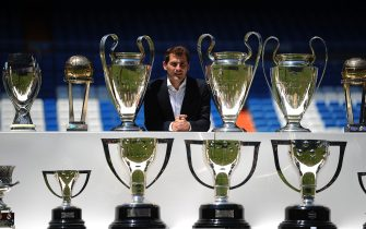 MADRID, SPAIN - JULY 13:  Iker Casillas poses behind trophies he has won during his career in Real Madrid after holding a press conference with Real  president Florentino Perez at the Santiago Bernabeu stadium to announce that he will be leaving Real Madrid football team on July 13, 2015 in Madrid, Spain.  (Photo by Denis Doyle/Getty Images)