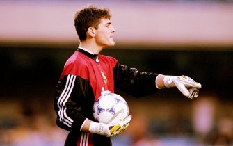 5 Jan 2000:  Iker Casillas in goal for Real Madrid during the FIFA Club World Championship group A match against Al-Nassr at the Morumbi Stadium in Sao Paulo, Brazil. Real Madrid won 3-1. \ Mandatory Credit: Shaun Botterill /Allsport