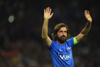 MILAN, ITALY - MAY 21:  Andrea Pirlo waves as he leaves the field at the end of the Andrea Pirlo Farewell Match at Stadio Giuseppe Meazza on May 21, 2018 in Milan, Italy.  (Photo by Pier Marco Tacca/Getty Images)