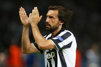 BERLIN, GERMANY - JUNE 06:  Juventus Andrea Pirlo claps the fans during the UEFA Champions League Final between Barcelona and Juventus at Olympiastadion on June 6, 2015 in Berlin, Germany. (Photo by Ian MacNicol/Getty Images)