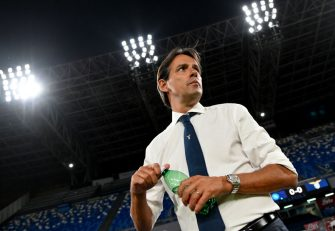 NAPLES, ITALY - AUGUST 01: SS Lazio head coach Simone Inzaghi during the Serie A match between SSC Napoli and  SS Lazio at Stadio San Paolo on August 01, 2020 in Naples, Italy. (Photo by Marco Rosi - SS Lazio/Getty Images)